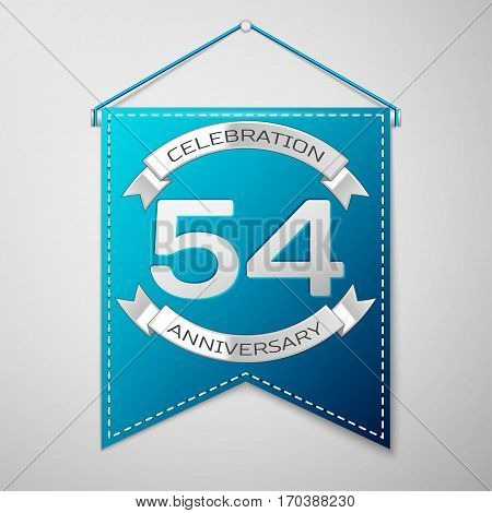 Blue pennant with inscription Fifty four Years Anniversary Celebration Design over a grey background. Silver ribbon. Colorful template elements for your birthday party. Vector illustration