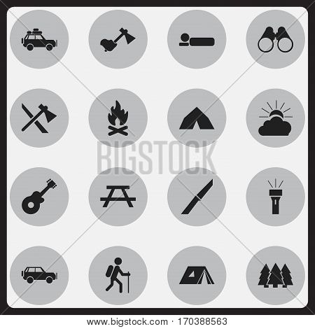 Set Of 16 Editable Camping Icons. Includes Symbols Such As Field Glasses, Pine, Tepee And More. Can Be Used For Web, Mobile, UI And Infographic Design.