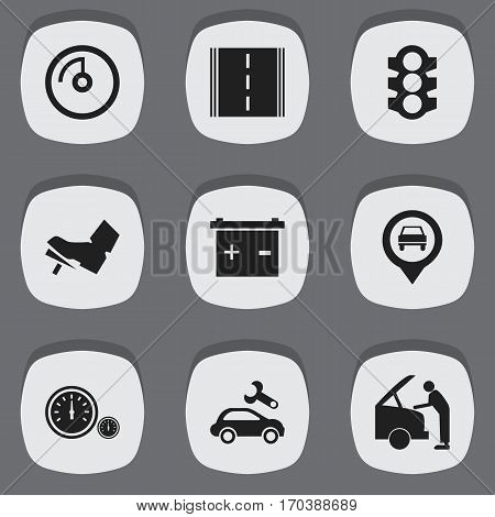 Set Of 9 Editable Traffic Icons. Includes Symbols Such As Speedometer, Speed Display, Stoplight And More. Can Be Used For Web, Mobile, UI And Infographic Design.