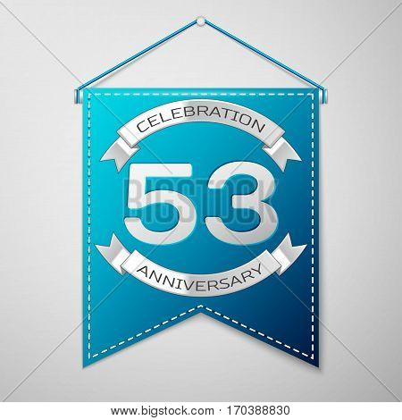 Blue pennant with inscription Fifty three Years Anniversary Celebration Design over a grey background. Silver ribbon. Colorful template elements for your birthday party. Vector illustration