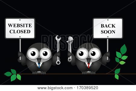 Comical website maintenance closed with back soon message