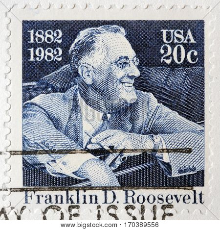 LUGA RUSSIA - FEBRUARY 9 2017: A stamp printed by USA shows Franklin Delano Roosevelt American statesman political leader and 32nd President of the United States circa 1982