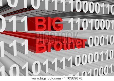 big brother presented in the form of binary code 3d illustration