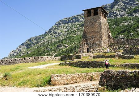 Tourists Visiting The Archaeological Site And Fortress Of Kruja