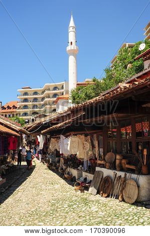 Tourists Shopping At The Bazar Of Kruja On Albania