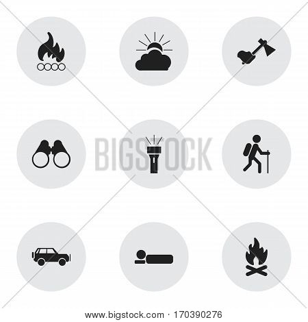 Set Of 9 Editable Camping Icons. Includes Symbols Such As Sport Vehicle, Lantern, Gait And More. Can Be Used For Web, Mobile, UI And Infographic Design.