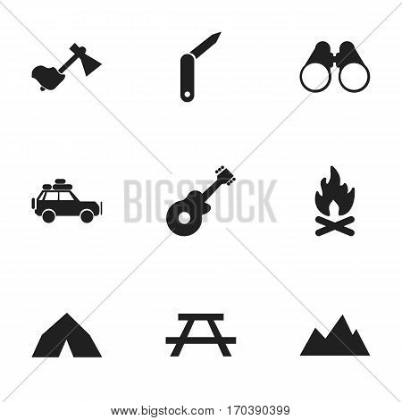 Set Of 9 Editable Trip Icons. Includes Symbols Such As Tepee, Field Glasses, Musical Instrument And More. Can Be Used For Web, Mobile, UI And Infographic Design.