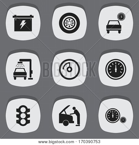 Set Of 9 Editable Vehicle Icons. Includes Symbols Such As Battery, Vehicle Wash, Automobile And More. Can Be Used For Web, Mobile, UI And Infographic Design.