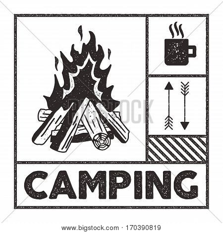 Wanderlust Camping stamp. Old school hand drawn t shirt Print Apparel Graphics. Campfire, mug and arrow symbols. Textured Stamp effect. Vintage Style. Vector monochrome
