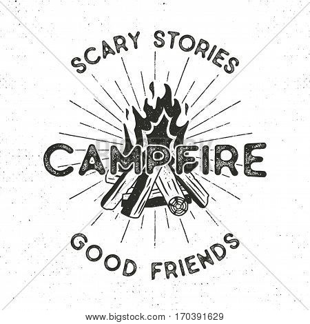 Camping t-shirt design. Hand drawn vintage label with texts, textured campfire and sunbursts design. Letterpress effect. Vector outdoors adventure illustration isolated. Hipster logotype.