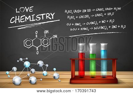 Chemistry still life - wooden tabletop with molecules model test tubes in wooden box and chalkboard with chemical formulas. Vector illustration.