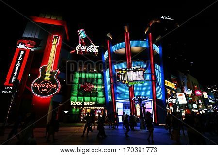 Osaka, JAPAN - May 7, 2016: Universal CityWalk Osaka is a three block entertainment, dining and shopping promenade located next to the Universal Studios JAPAN theme park.
