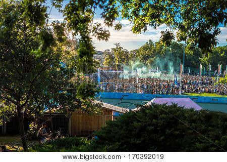 Budapest, Hungary - June 18, 2016: Crowds in Hungary celebrating for the national team winning a football match during the Euro 2016