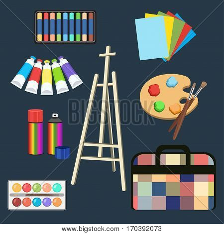 Realistic art supplies, set art materials. Easel, pastel, paint in tubes, watercolor, palette and brush, spray paint in the can, paper, bag folder. Vector objects for drawing, painting and creativity
