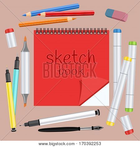 Realistic art supplies, set art materials. Sketchbook, art marker with two tips, multicolored handles capillary, colour pencils, feather, eraser. Desk artist. Vector drawing objects for creativity