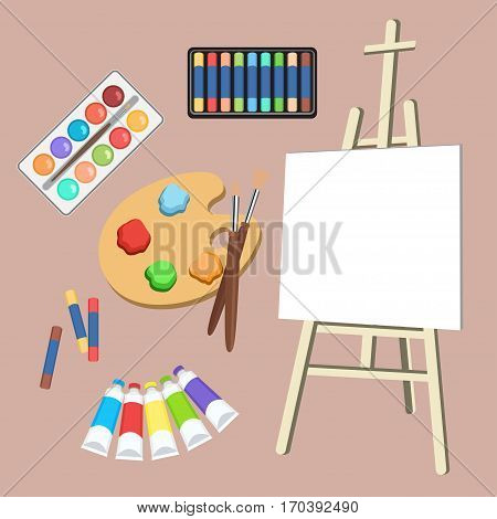 Realistic art supplies, set art materials. Artist Accessories. Easel, canvas, tablet, pastel, paint in tubes, watercolor, palette and brush. Vector objects for drawing painting and creativity