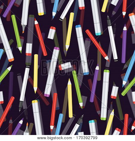Markers, liners, handles capillary and colored pencils seamless pattern, art background. Vector multicolored art supplies on purple backdrop