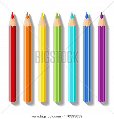 Set realistic colored pencils. Pencils of rainbow colors. Vector art supplies for drawing, sketching, graphics, painting and creativity