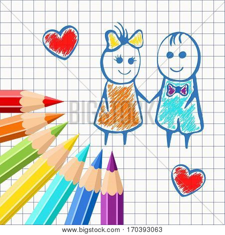 Frame of colored pencils on the background exercise book in a cage, with painted cartoon girl and boy. For design postcards, banners, covers. Realistic vector illustration