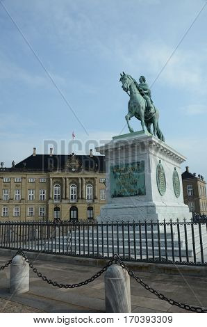 A view of the landmarks of Amalienborg plaza in Copenhagen