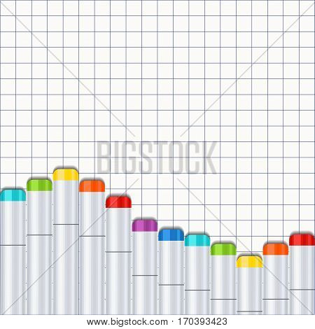 Frame, border a wave of art markers all colors of the rainbow on the background exercise book in a cage. For design postcard, banner, cover, flyer, poster, artwork image. Realistic vector illustration