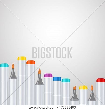 Frame, border a wave of art markers all colors of the rainbow on gray gradient background. For design postcard, banner, cover, flyer, poster, artwork image. Realistic vector illustration