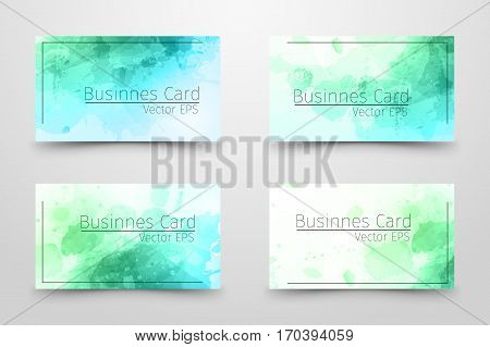 Businnes Card With Abstract Watercolor Design.