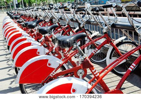 Bicycle parking sharing station in Barcelona Spain Europe
