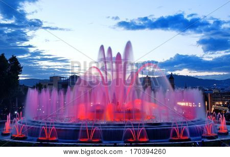 Barcelona magic fountain in Plaza de Espana Spain Europe