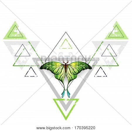 Geometric symmetrical pattern with gray and green triangle decorated with green exotic butterfly on a white background. Tattoo style. Greenery. Trendy color.