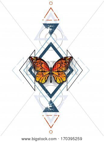 Symmetrical pattern of blue diamonds and gray triangles decorated with orange exotic monarch butterfly on a white background. Monarch. Design with butterflies. Tattoo style.