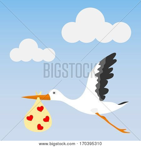 Stork brings baby, stork icon. Flat design, vector illustration, vector.