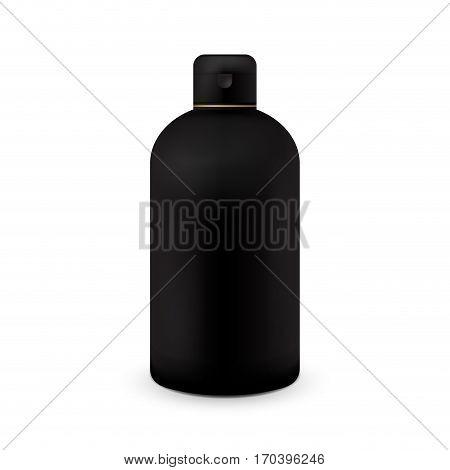 White plastic bottle template for shampoo, shower gel, lotion, body milk, bath foam. Ready for your design. Vector illustration. Black color