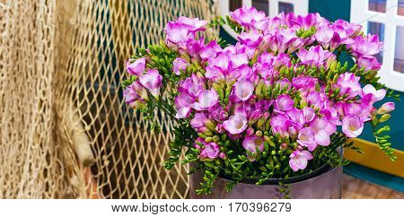 flower bouquet of pink and white alstroemeria holiday panoramic banner background and rope net