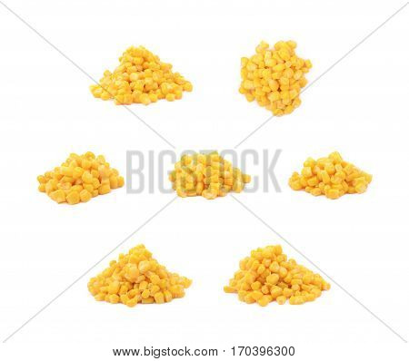 Pile of a canned corn isolated over the white background, set of seven different foreshortenings