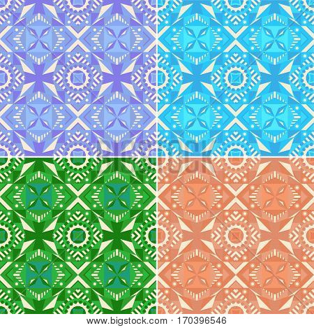 Set of colorful seamless geometric patterns. Traditional. Vector illustration.