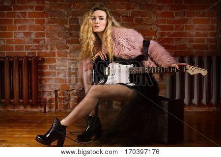 Beautiful Rock Girl At Rock Club