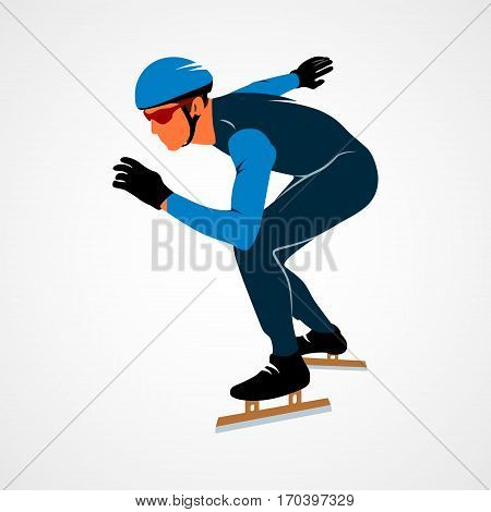 Abstract speed skaters on a white background. Vector illustration.