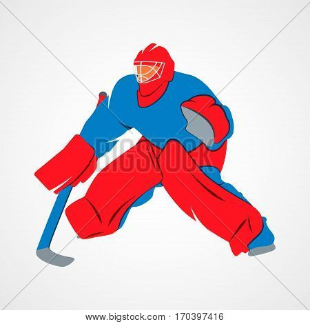 Abstract hockey goalie player on a white background. Vector illustration.