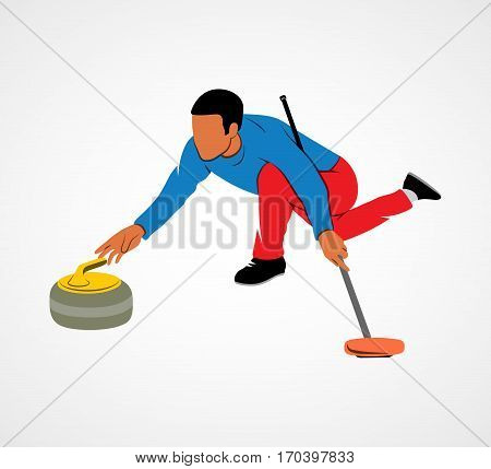 The game of curling on a white background. Photo illustration.