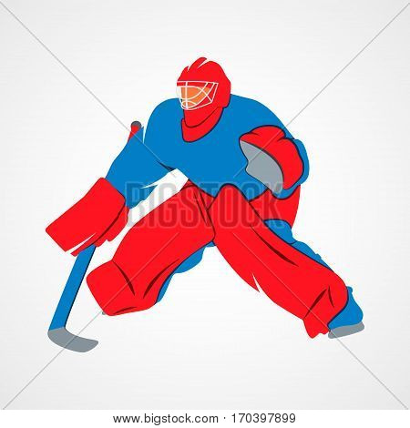 Abstract hockey goalie player on a white background. Photo illustration.
