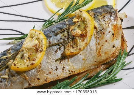 Grilled mackerel fish with lemon and rosemary. Close up