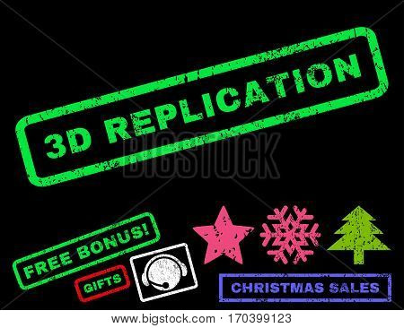 3D Replication text rubber seal stamp watermark with additional bonus christmas symbols. Caption inside rectangular banner with grunge design and scratched texture.