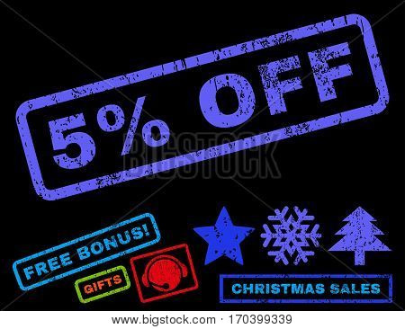 5 Percent Off text rubber seal stamp watermark with bonus christmas symbols. Tag inside rectangular banner with grunge design and scratched texture.