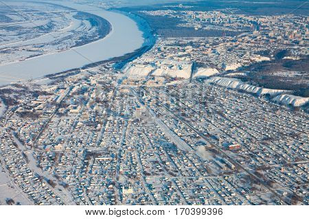 Tobolsk. Tyumen region. Russia. - February 08, 2017: the Kremlin and temples in lower tenements from above during cold winter day.