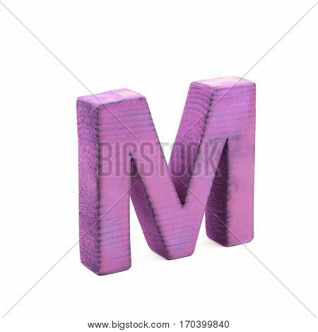 Single sawn wooden letter M symbol coated with paint isolated over the white background
