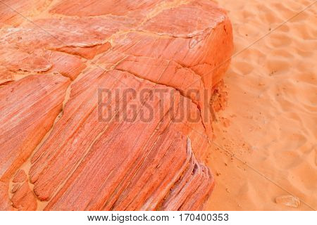 Red Sand and Stones in the Valley of Fire State Park in Nevada, USA