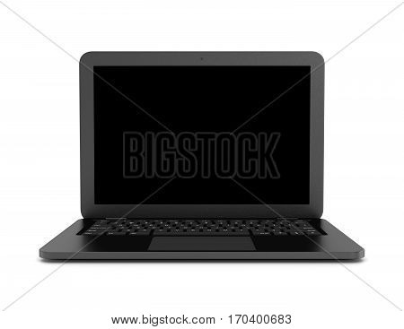 Black Notebook Computer On White Background