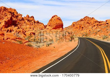 Street in the Valley of Fire State Park in Nevada, USA