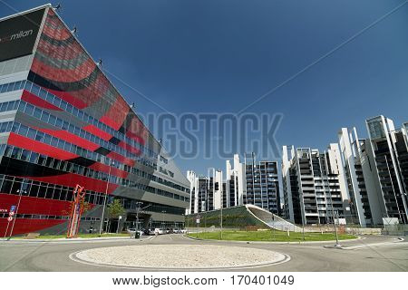 MILAN, ITALY - AUGUST 14, 2016: Milan (Lombardy Italy): modern office buildings in the new Portello area